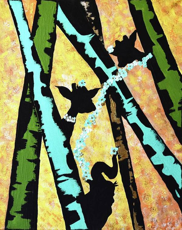 Safari Nursery Art Giraffes Hide And Seek Wall Art Baby Animals ...