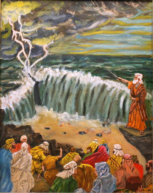 Moses Art Print featuring the painting Safe Passage by Gloria M Apfel