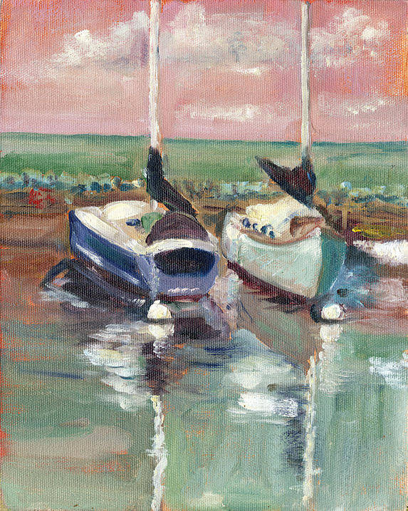Boats Art Print featuring the painting Sailboats In Lahaina by Elizabeth Ferris
