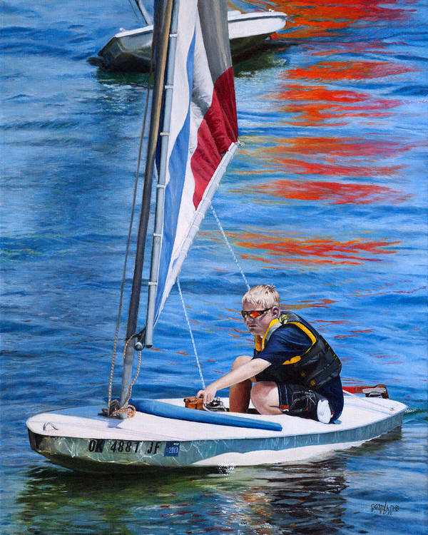 Seascape Art Print featuring the painting Sailing On Lake Thunderbird by Joshua Martin