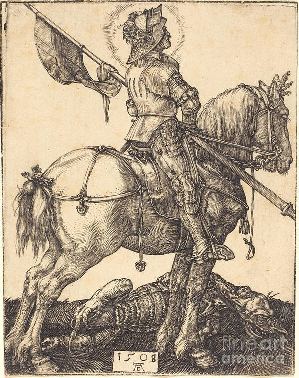 Art Print featuring the drawing Saint George On Horseback by Albrecht D?rer