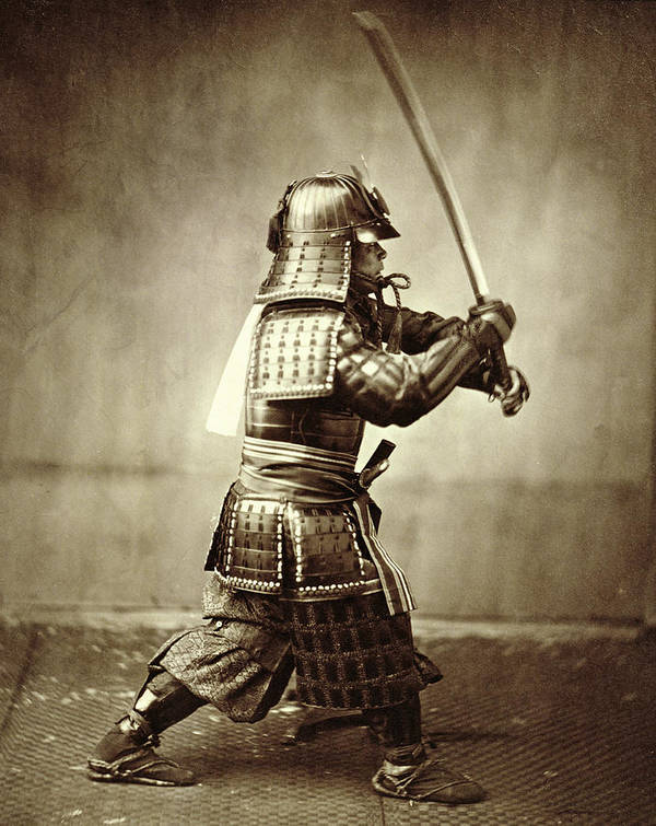 Warrior; Profile; Armor; Helmet; Action; Manoeuvre; Movement; Photo; Photograph; Asian Art Print featuring the photograph Samurai With Raised Sword by F Beato