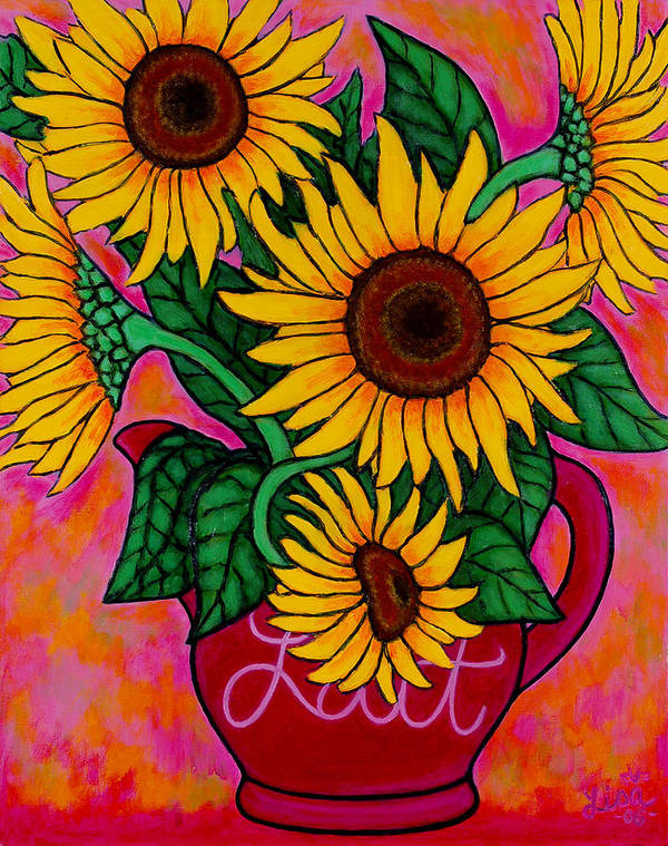 Sunflowers Art Print featuring the painting Saturday Morning Sunflowers by Lisa Lorenz