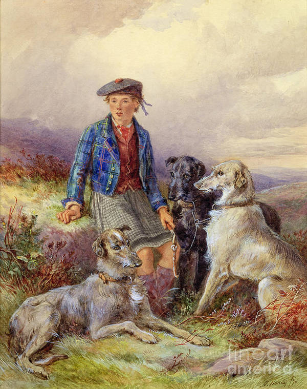 Dog; Tam O'shanter; Kilt; Tartan; Heath; Moor; Lad Art Print featuring the painting Scottish Boy With Wolfhounds In A Highland Landscape by James Jnr Hardy