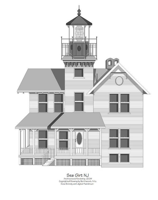 Lighthouse Art Print featuring the painting Sea Girt New Jersey Architectural Drawing by Anne Norskog