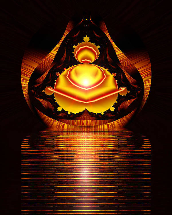 Digital Art Print featuring the digital art Seated Buddha by Roger Soule