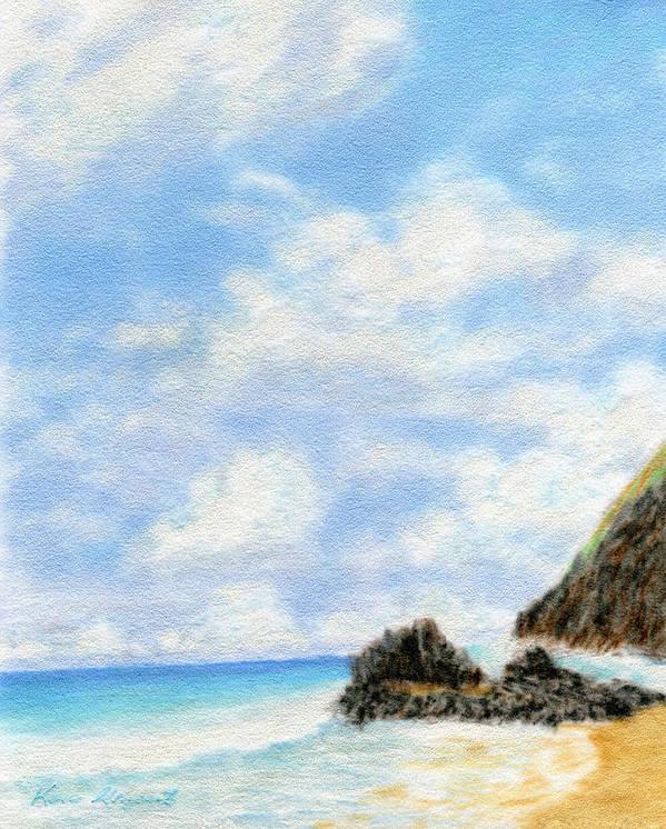 Coastal Decor Art Print featuring the painting Secret Beach Sky by Kenneth Grzesik