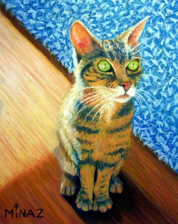 Cat Art Print featuring the painting She Wants To Be Famous by Minaz Jantz