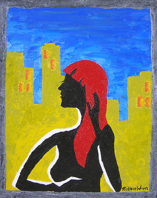 City Art Print featuring the painting Silence In The City by Ricklene Wren