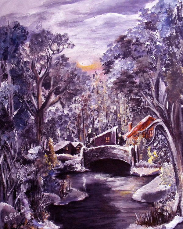 Landscape Art Print featuring the painting Silent Night by Ruth Palmer