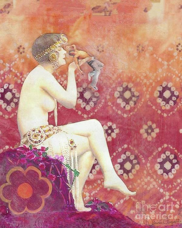 Sensuality Art Print featuring the mixed media Size Matters Da by Desiree Paquette
