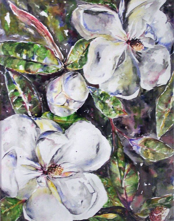 Magnolia Art Print featuring the painting Sold Steal Magnolias by Amanda Sanford