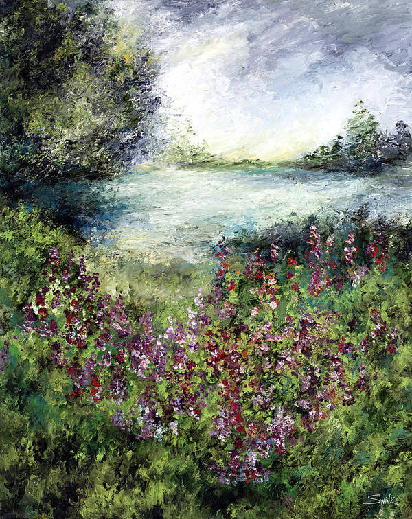 Landscape Art Print featuring the painting Solitude In Blue And Green by Laura Swink