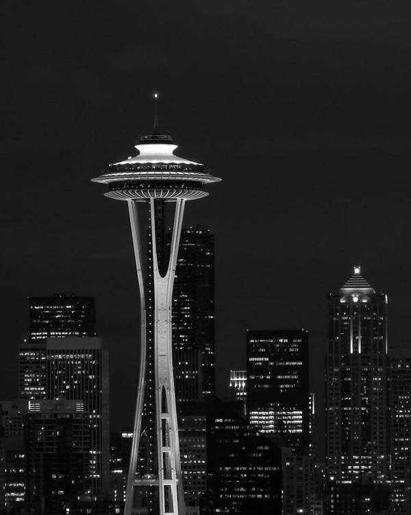 Space Needle Art Print featuring the photograph Space Needle At Night In Black And White by Mark J Seefeldt