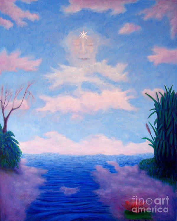 Buddha Art Print featuring the painting Spirit Of The Lake by Brian Commerford