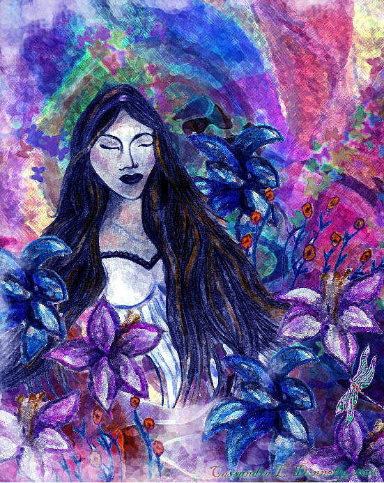 Woman In Garden Art Print featuring the digital art Spiritual Garden Of Hope by Cassandra Donnelly