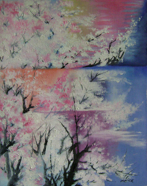 Abstract Art Print featuring the painting Spring by Lian Zhen