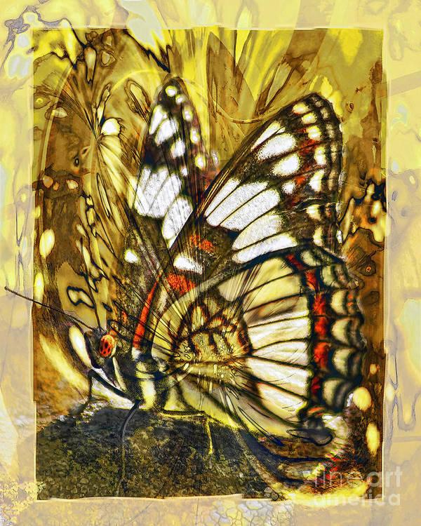 Butterfly Art Print featuring the digital art Stained Glass Butterfly by Chuck Brittenham