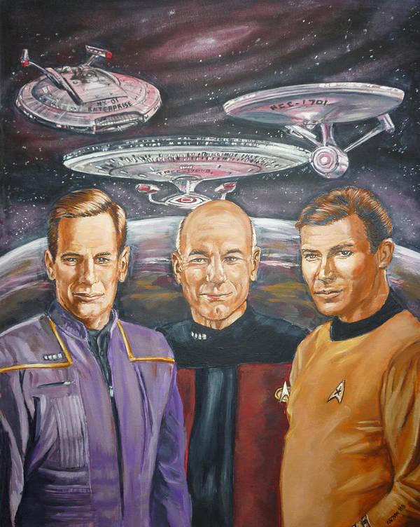 Star Trek Art Print featuring the painting Star Trek Tribute Enterprise Captains by Bryan Bustard