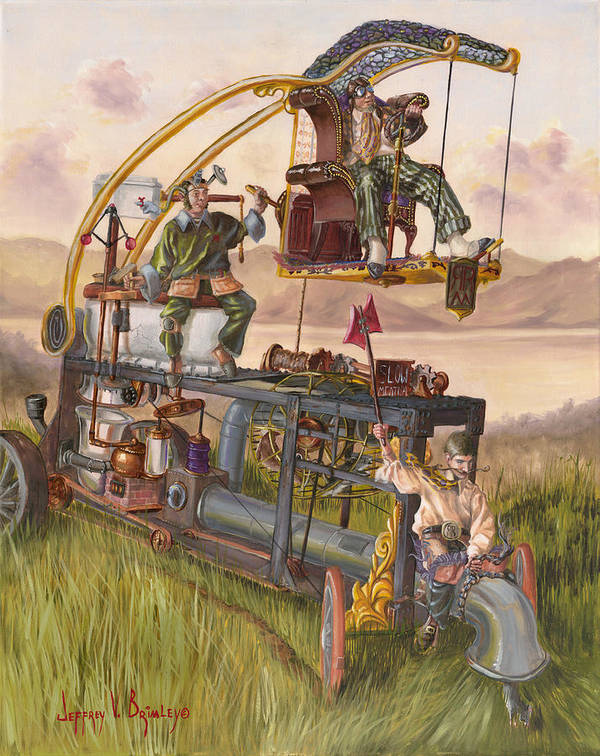 Machine Art Print featuring the painting Steam Powered Rodent Remover by Jeff Brimley