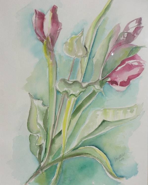Floral Art Print featuring the painting Still Life Spring by Kathy Mitchell