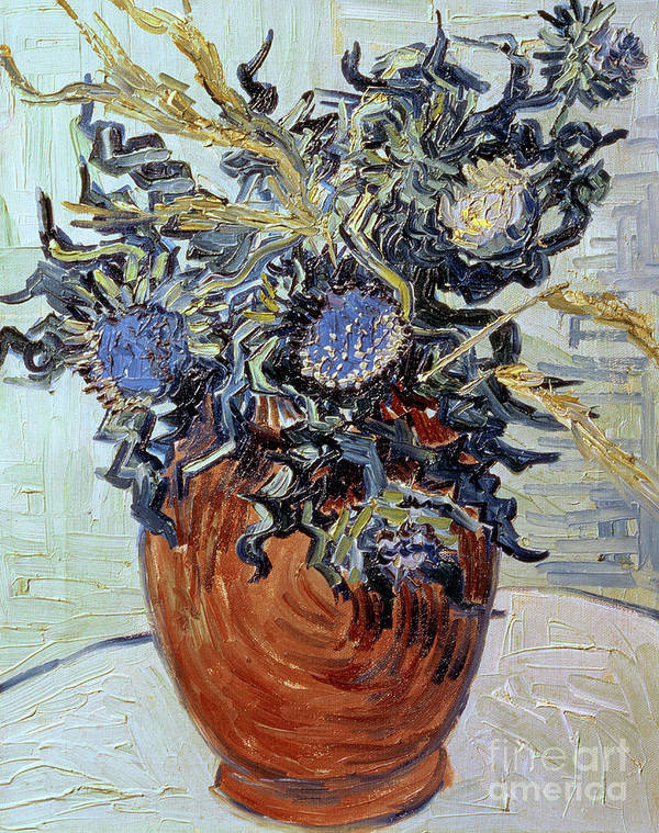 Still Life With Thistles Art Print featuring the painting Still Life With Thistles by Vincent van Gogh
