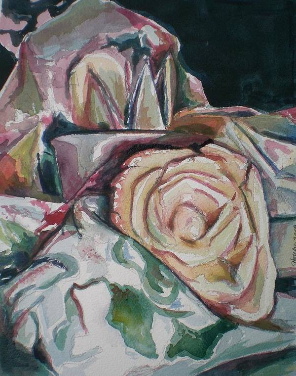 Still Life Art Print featuring the painting Still Life With Yellow Rose by Aleksandra Buha