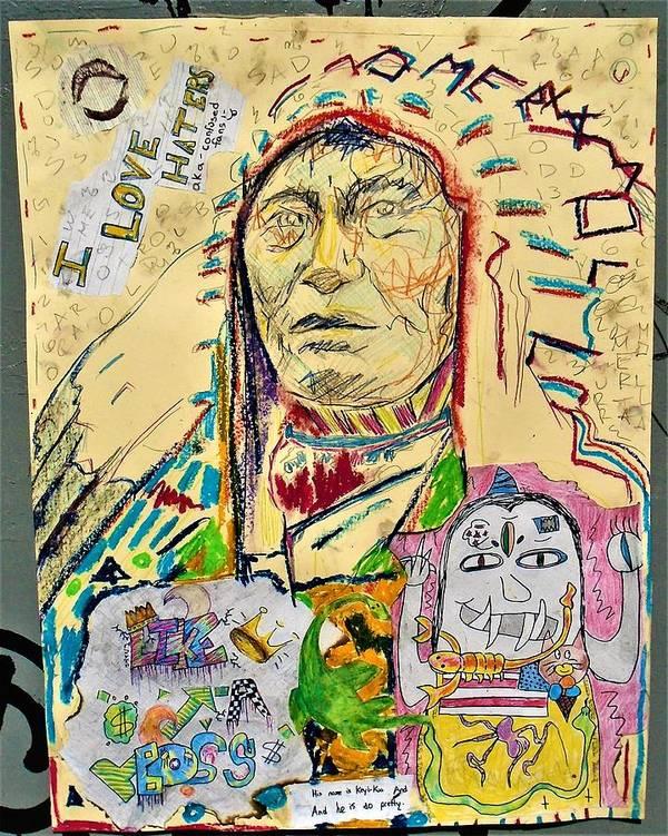 #bluefaerytale #icecream #drawing #artwork #scorpion #dollarsign #snake #monster #likeaboss #ilovehaters #akaconfusedfans #pulpo #keyikuathedino #rabbit #nativeamericanchief #callforart #omertamoll #urbanart Art Print featuring the mixed media Stoney Chief by Teresa Omerta Moll-Arruza