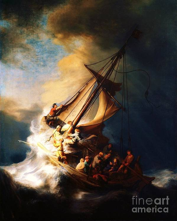 Pd Art Print featuring the painting Storm On The Sea Of Galilee by Pg Reproductions