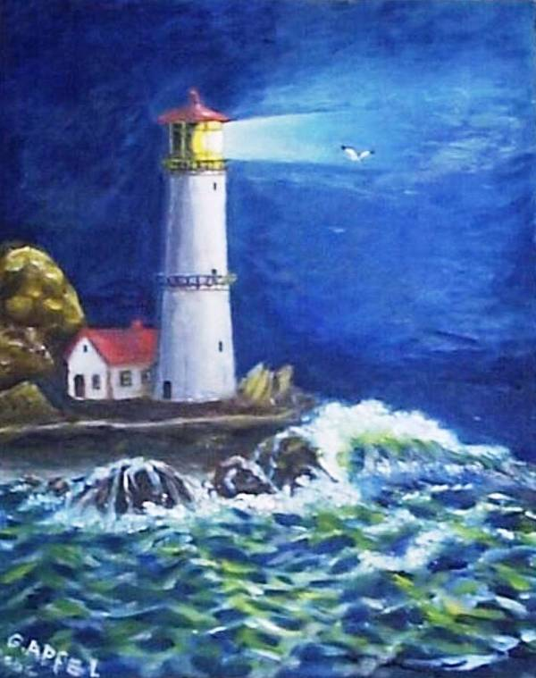 Light House Art Print featuring the painting Stormy Night by Gloria M Apfel