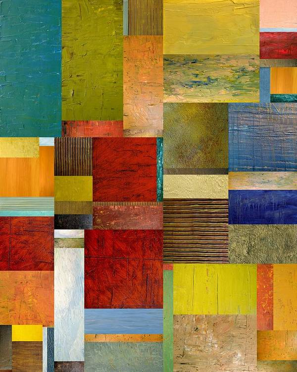 Textural Art Print featuring the painting Strips And Pieces L by Michelle Calkins