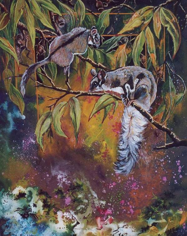 Sugar Gliders Art Print featuring the painting Sugar Gliders by Sue Linton