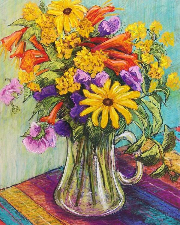 Still Life Art Print featuring the pastel Summer Bouquet by Candy Mayer