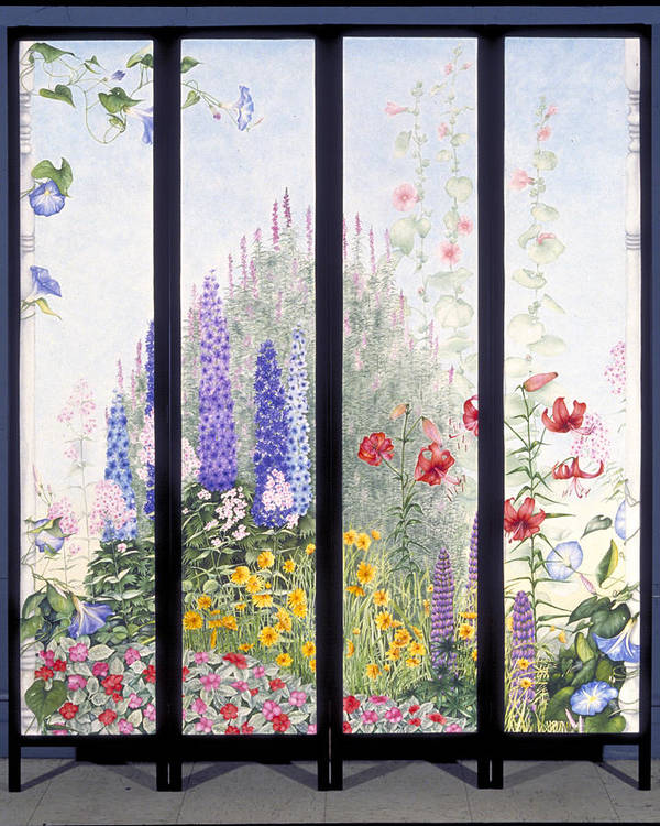 Garden Art Print featuring the painting Summerscreen by Nancy Ethiel