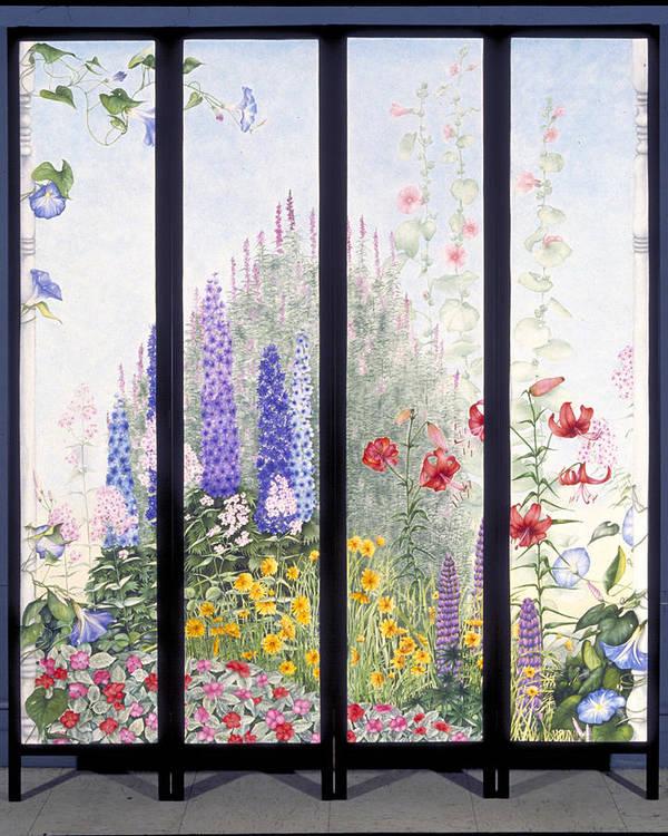 Garden Art Print featuring the painting Summerscreen by Nancy Ethiel