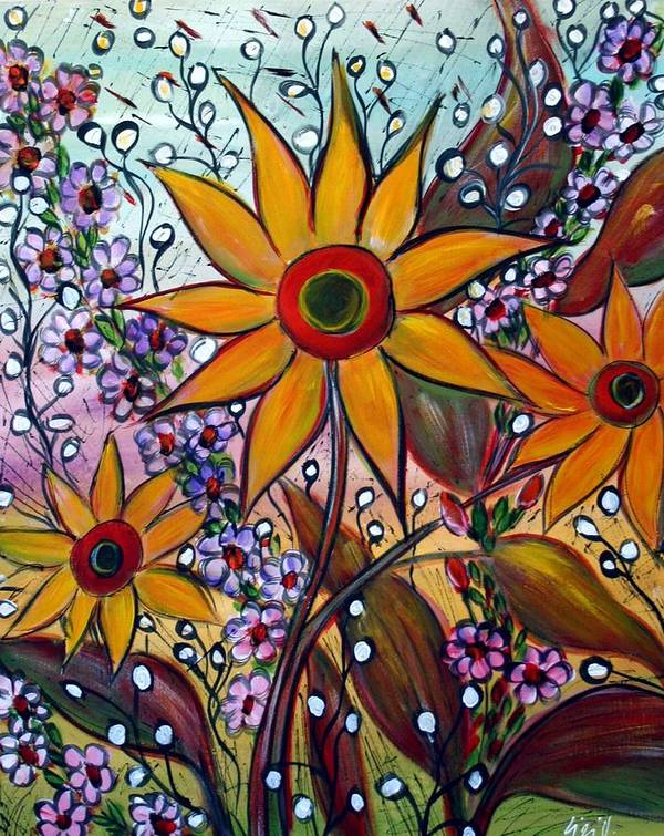 Flowers Art Print featuring the painting Sunflowers by Luiza Vizoli
