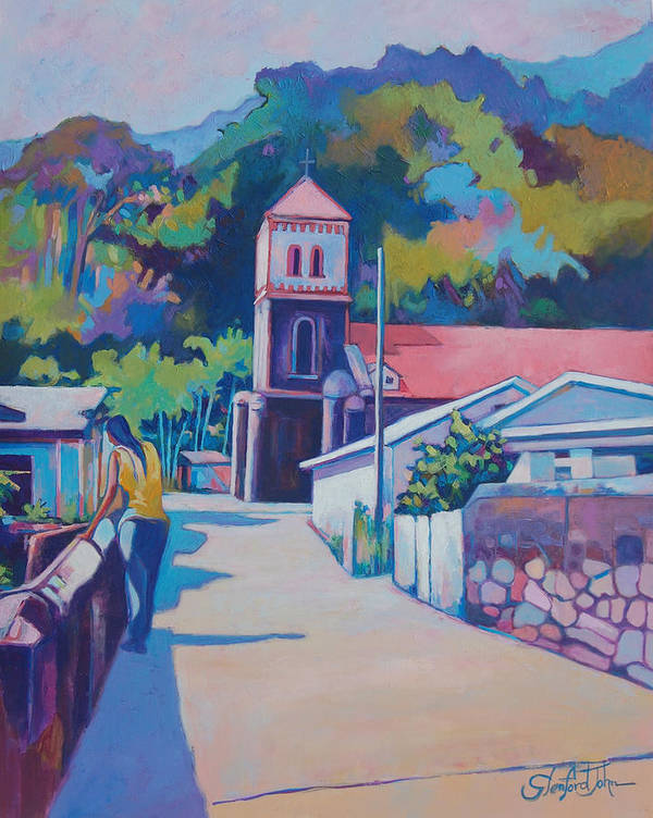 Art Print featuring the painting Sunny Soufriere by Glenford John