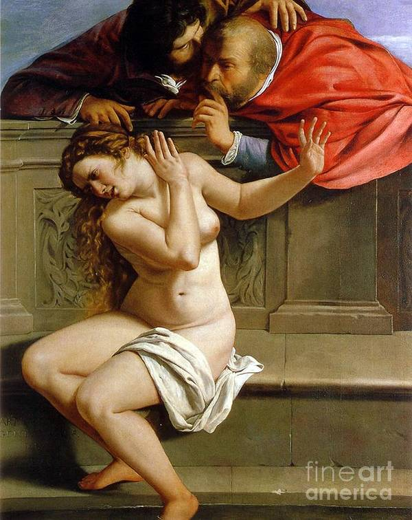 Susannah And The Elders Art Print featuring the painting Susannah And The Elders by Artemisia Gentileschi
