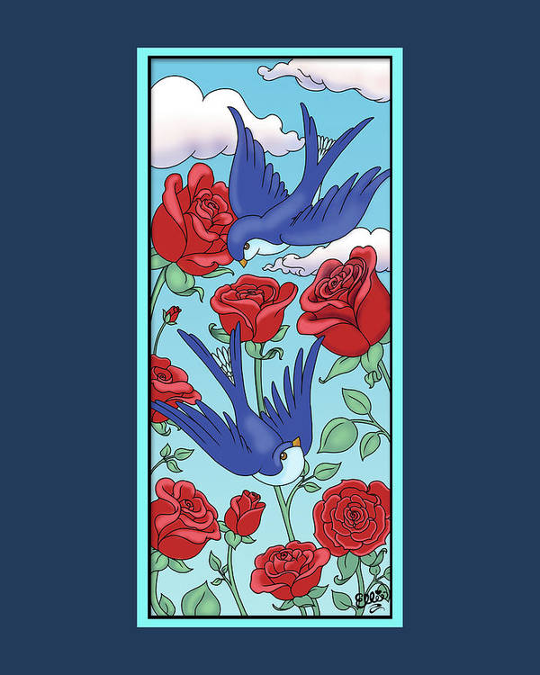 Birds Art Print featuring the digital art Swallows And Roses by Eleanor Hofer