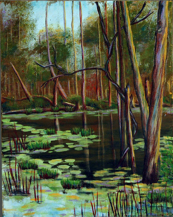 Swamp Art Print featuring the painting Swamp Reflections by Art Nomad Sandra Hansen