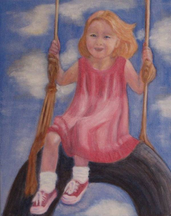Child Art Print featuring the painting Swingin by Patricia Ortman