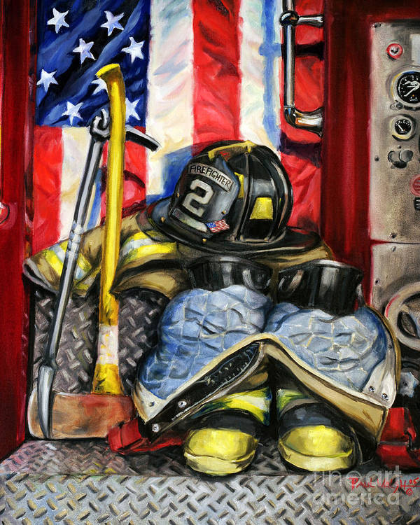 Firefighting Art Print featuring the painting Symbols Of Heroism by Paul Walsh
