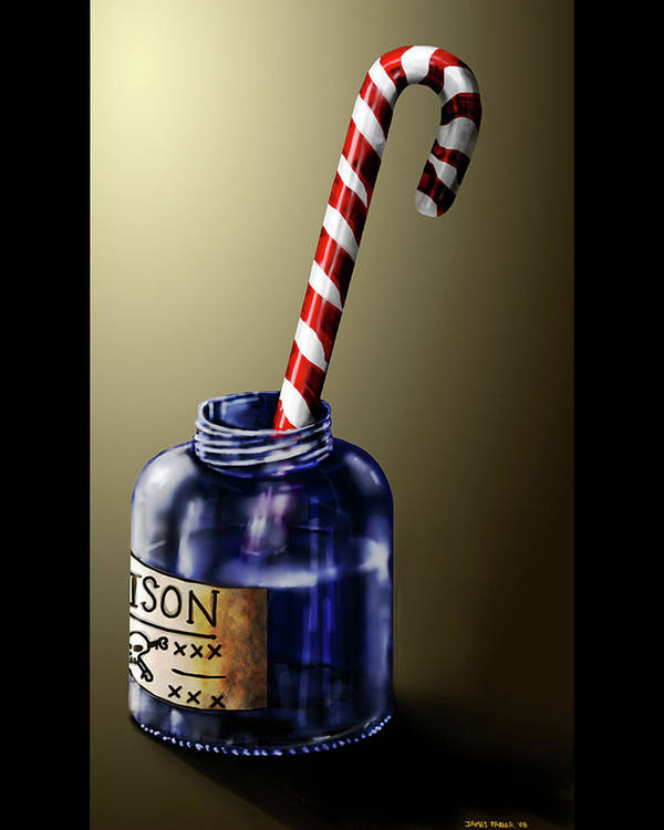 Candy Cane Art Print featuring the digital art Tainted Candy by James Parker