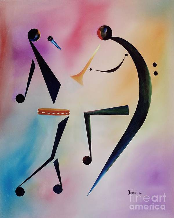 Trumpet Art Print featuring the painting Tambourine Jam by Ikahl Beckford