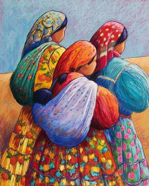 Mexico Art Print featuring the pastel Tarahumara Women by Candy Mayer