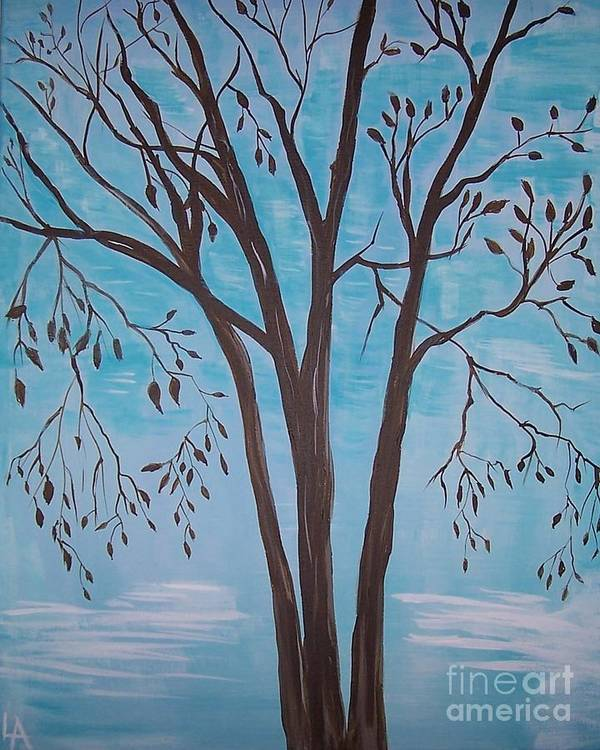 Tree Painting Art Print featuring the painting Teal And Brown by Leslie Allen