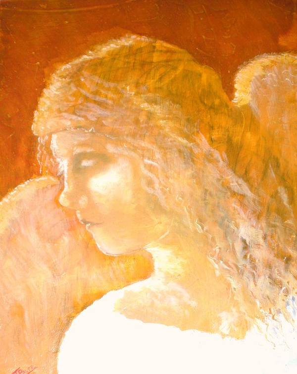 Angel Art Print featuring the painting Tender Mercy by J Bauer
