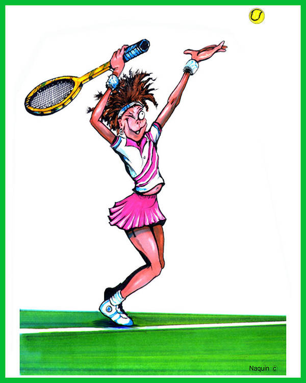Cartoon Art Print featuring the drawing Tennis Ace by Keith Naquin