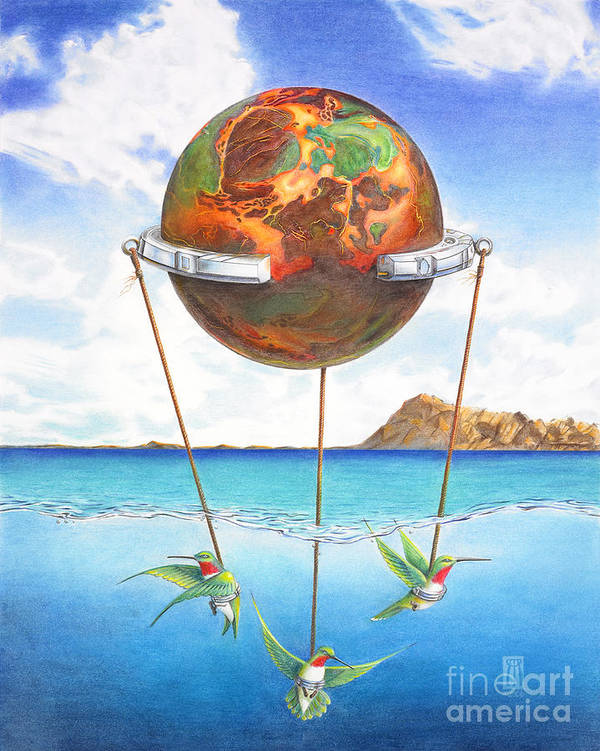 Surreal Art Print featuring the painting Tethered Sphere by Melissa A Benson