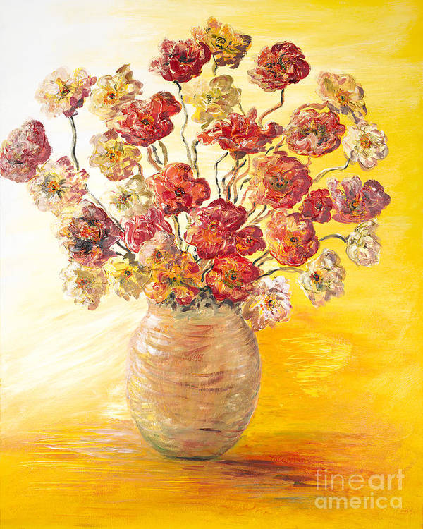 Flowers Art Print featuring the painting Textured Flowers In A Vase by Nadine Rippelmeyer